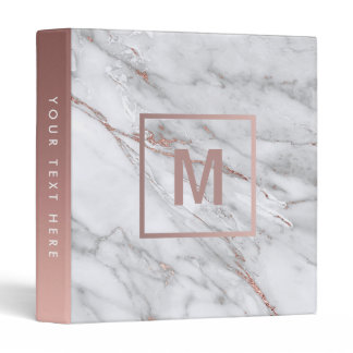 monogram rose gold and light marble stone 3 ring binder
