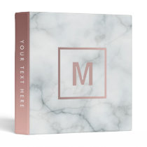 monogram rose gold and  white marble stone 3 ring binder