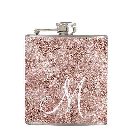 Monogram Rose Gold Glitter Camouflage camo Flask