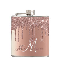 Monogram Rose Gold Glitter Drips Girly Sparkle Flask