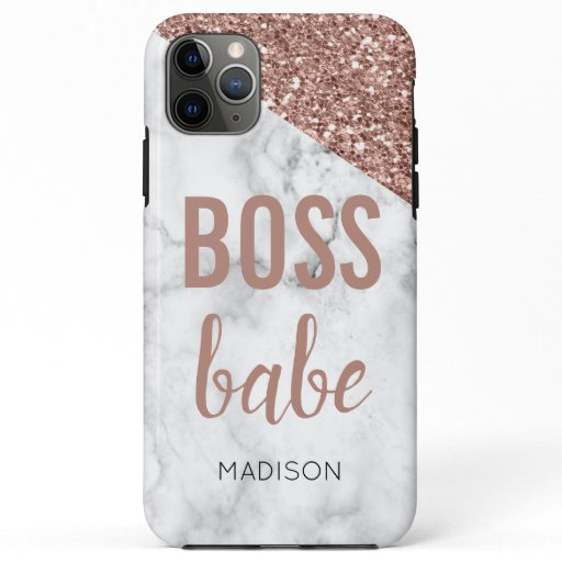 Monogram Rose Gold Glitter | Marble  Boss Babe iPhone 11 Pro Max Case