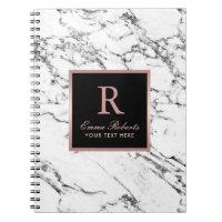 Monogram Rose Gold Initial Elegant White Marble Notebook