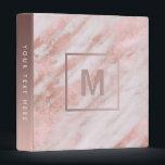 """monogram rose gold marble stone binder<br><div class=""""desc"""">elegant marble look binder</div>"""