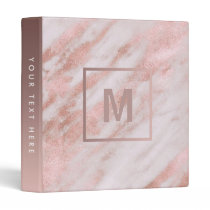 monogram rose gold marble stone binder