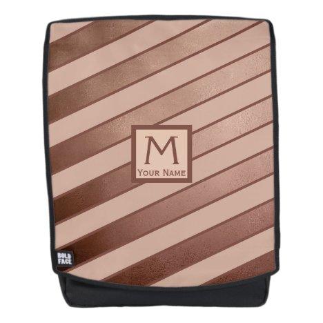 Monogram Rose Gold Oblique Pink Stripes Girly Backpack