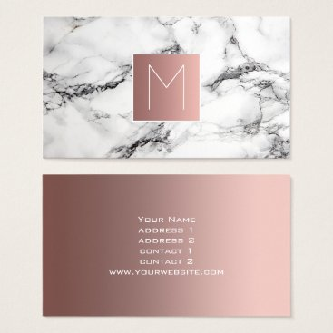 Professional Business monogram rose gold on black and white marble business card