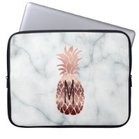monogram rose gold pineapple computer sleeve