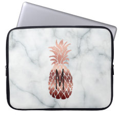Monogram Rose Gold Pineapple Computer Sleeve at Zazzle