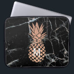 "monogram rose gold pineapple on black marble laptop sleeve<br><div class=""desc"">monogram tropical fruit pineapple</div>"
