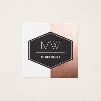 Monogram Rose Gold Square Business Card