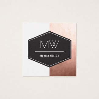 Monogram Rose Gold Square Business Card