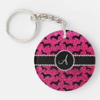 Monogram rose pink glitter dachshund keychain