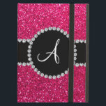 "Monogram rose pink glitter diamond circle iPad air case<br><div class=""desc"">Glitter gift ideas. Rose pink glitter (not real glitter) with with girly black diamond encrusted circle (faux not real diamonds) and bling pretty black diamonds stripe ( not real diamonds) dots and hearts and monogram letter change to any letter a, b, c, d, e, f, g, h, i, j, k,...</div>"