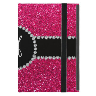 Monogram rose pink glitter diamond circle iPad mini case
