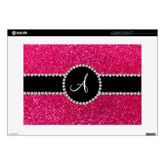 Monogram rose pink glitter diamond circle laptop skin