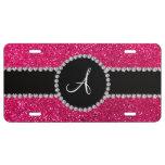 Monogram rose pink glitter diamond circle license plate