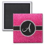 Monogram rose pink glitter diamond circle magnets