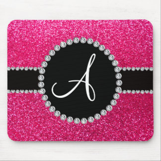 Monogram rose pink glitter diamond circle mouse pad
