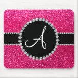 Monogram rose pink glitter diamond circle mousepads