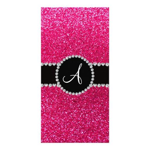 Monogram rose pink glitter diamond circle photo card template