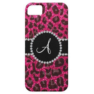 Monogram rose pink glitter leopard iPhone SE/5/5s case