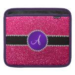 Monogram rose pink glitter purple diamond circle sleeve for iPads