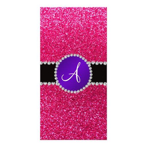 Monogram rose pink glitter purple diamond circle photo card