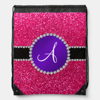 Monogram rose pink glitter purple diamond circle backpack