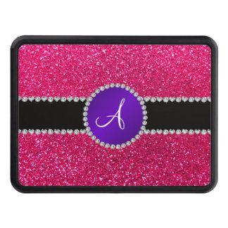 Monogram rose pink glitter purple diamond circle tow hitch cover