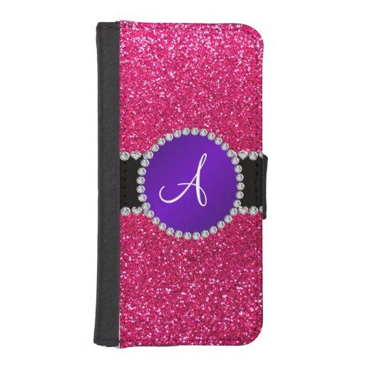 Monogram rose pink glitter purple diamond circle iPhone 5 wallets