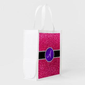 Monogram rose pink glitter purple diamond circle reusable grocery bag