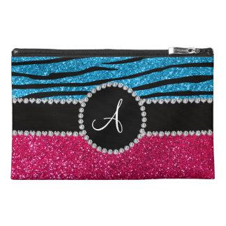 Monogram rose pink glitter sky blue zebra stripes travel accessories bags
