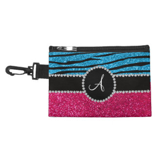 Monogram rose pink glitter sky blue zebra stripes accessory bags