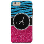 Monogram rose pink glitter sky blue zebra stripes tough iPhone 6 plus case
