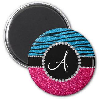Monogram rose pink glitter sky blue zebra stripes magnet