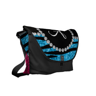 Monogram rose pink glitter sky blue zebra stripes courier bags
