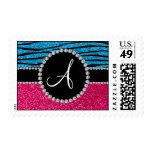 Monogram rose pink glitter sky blue zebra stripes postage