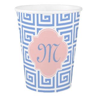 Monogram Rose Quartz Pink Serenity Blue Greek Key Paper Cup