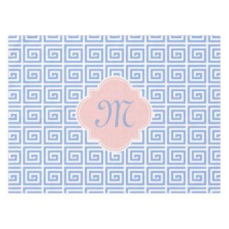 Monogram Rose Quartz Pink Serenity Blue Greek Key Tablecloth