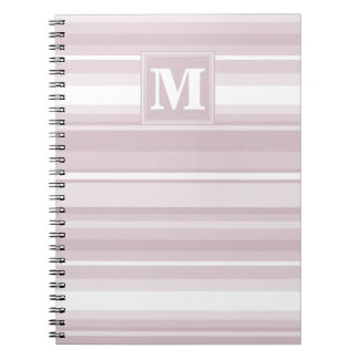 Monogram rose quartz stripes notebook