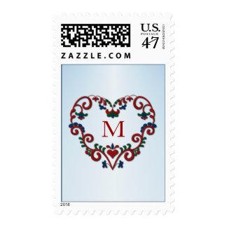 Monogram Rosemaling with Heart Custom Initial Postage
