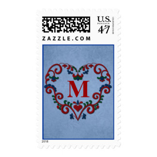Monogram Rosemaling with Heart Postage