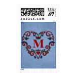 Monogram Rosemaling with Heart Postage Stamp
