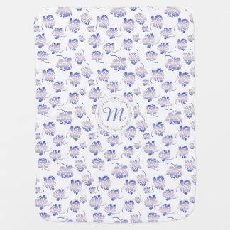 Monogram. Roses retro pattern. Stroller Blanket