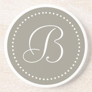 Monogram Round Aluminum/White Dot Border Sandstone Coaster