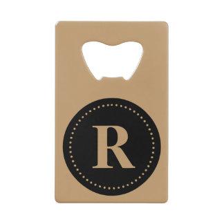 Monogram Round Black/Camel Brown, Dot Border Credit Card Bottle Opener