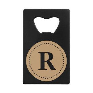 Monogram Round Camel Brown/Black, Dot Border Credit Card Bottle Opener