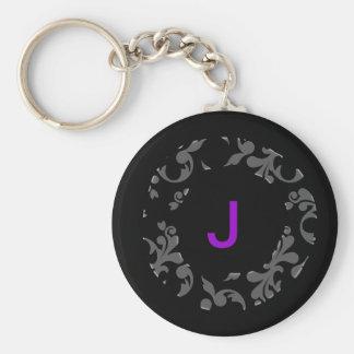 Monogram round damask keychain