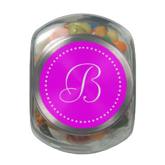 Monogram Round Pink/White Dot Border Jelly Belly Candy Jar