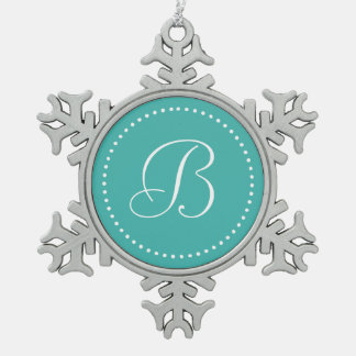 Monogram Round Verdigris Blue/White Dot Border Snowflake Pewter Christmas Ornament